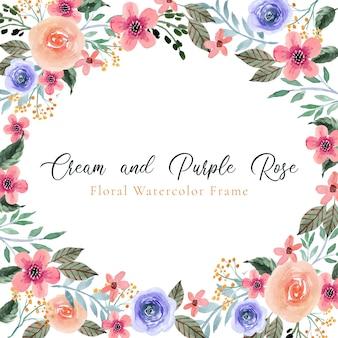 Cadre aquarelle floral rose crème et violet