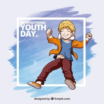 Cadre aquarelle de jour de la jeunesse avec des coups d'aquarelle et garçon