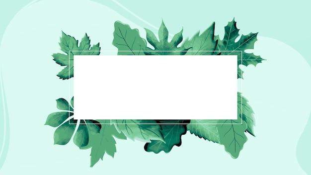 Cadre aquarelle nature avec des feuilles vertes