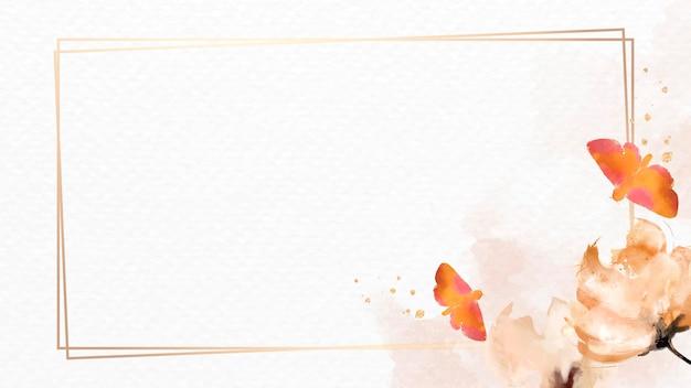 Cadre aquarelle papillons et fleurs