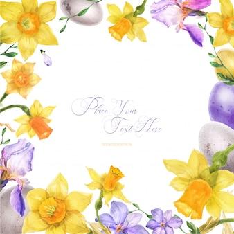 Cadre aquarelle de pâques avec des fleurs de printemps et des oeufs