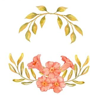 Cadre aquarelle pêche et fleurs dorées