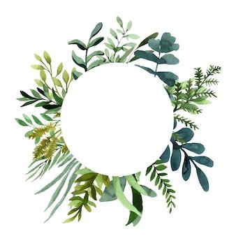 Cadre aquarelle de plantes vertes et de feuilles