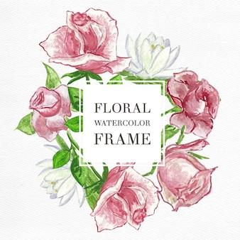 Cadre avec aquarelle roses et de lys