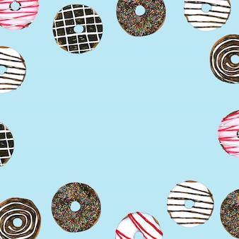 Cadre aquarelle de vecteur donuts