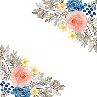 Cadre aquarelle vintage classique bleu et rose
