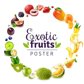 Cadre arc-en-ciel rond fruits exotiques