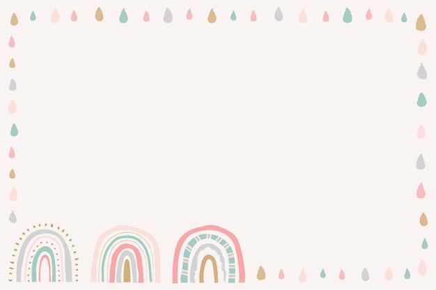 Cadre arc-en-ciel, vecteur de frontière mignon doodle
