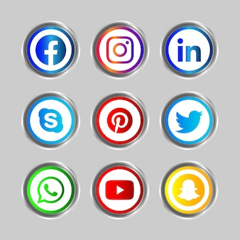Cadre argenté brillant bouton d'icône de médias sociaux de facebook instagram linkedin skype pinterest twitter whatsapp youtube et snapchat avec effet de dégradé pour une utilisation en ligne de l'ux ui