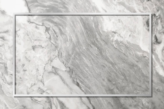 Cadre argenté rectangle sur vecteur de fond de marbre gris