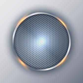 Cadre argenté rond métallique abstrait cercle élégant