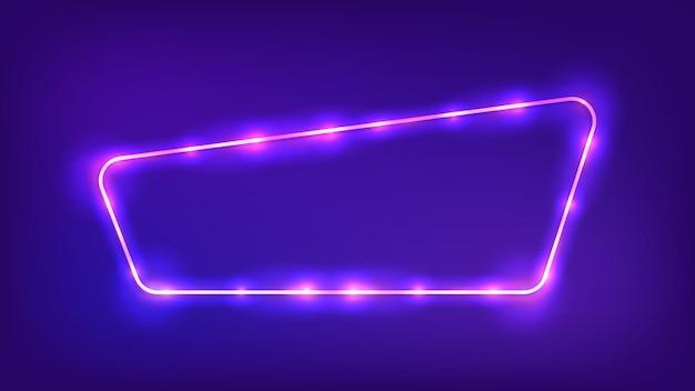 Cadre arrondi néon avec effets brillants sur fond sombre. toile de fond techno rougeoyante vide. illustration vectorielle.