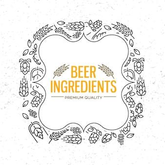 Cadre au design élégant avec des icônes de fleurs, brindille de houblon, fleur, malt autour des mots ingrédients de la bière au centre