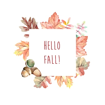 Cadre automne aquarelle avec des feuilles et des chênes gland