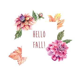Cadre automne aquarelle avec des fleurs de dahlia