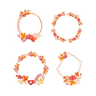 Cadre automne bouquet guirlande