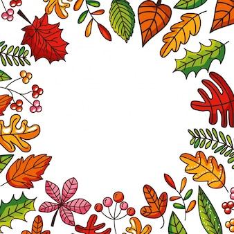 Cadre automne avec chute en feuilles