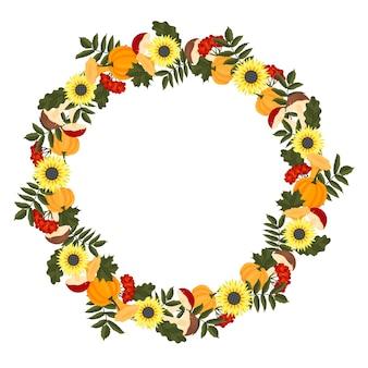 Cadre d'automne avec citrouilles, tournesols, champignons et feuilles. modèle pour votre conception. style de bande dessinée. illustration vectorielle.