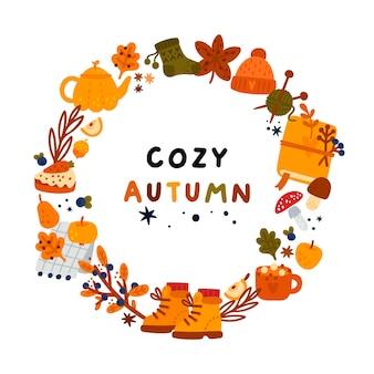 Cadre d'automne avec couronne d'automne d'éléments dessinés à la main pour une atmosphère chaleureuse idéale pour la carte de bannière