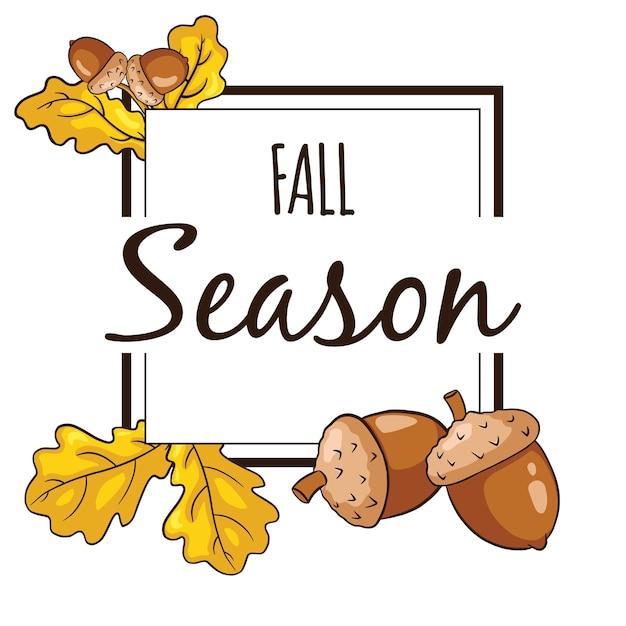 Cadre d'automne avec des feuilles de chêne et des glands. éléments décoratifs de saison d'automne à vendre bannière, invitations, conception et décoration de cartes de voeux. vecteur premium
