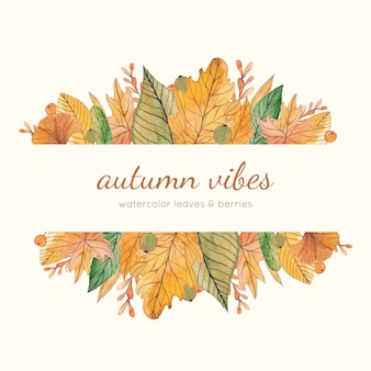 Cadre automne jaune et vert aquarelle