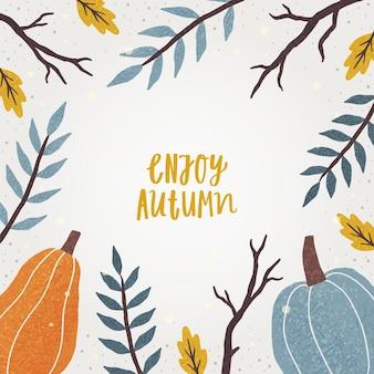 Cadre d'automne mignon. vector illustration dessinée à la main et lettrage
