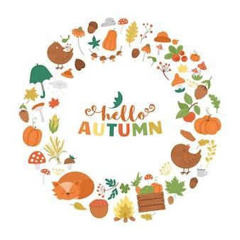 Cadre d'automne rond de vecteur avec des animaux, des plantes, des feuilles, des cloches, des citrouilles. couronne de saison d'automne