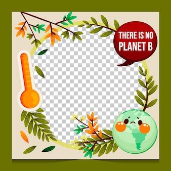 Cadre d'avatar facebook de changement climatique plat organique