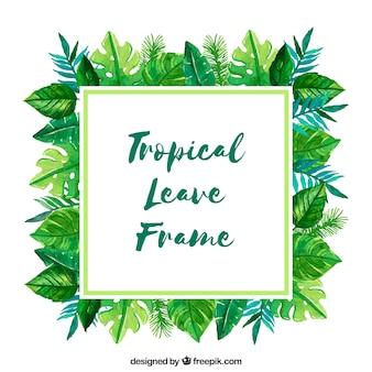 Cadre avec des feuilles tropicales aquarelles