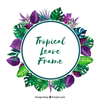 Cadre avec des feuilles tropicales d'aquarelle