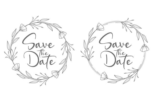 Cadre de badges de mariage floral minimal de style cercle et couronne de mariage