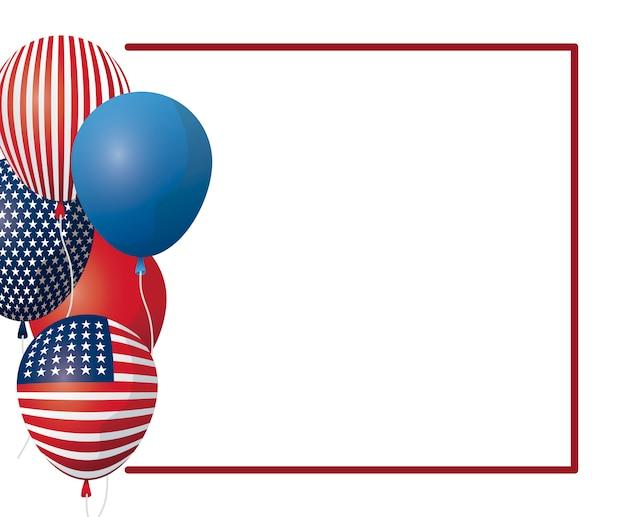 Cadre avec des ballons à l'hélium du drapeau américain