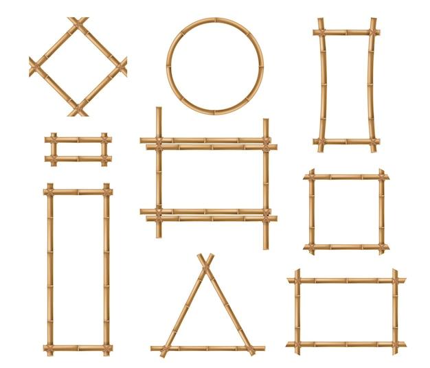Cadre en bambou bâtons en bois de bambou marron carrées et cadres à bordure ronde
