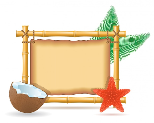 Cadre en bambou et noix de coco