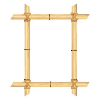 Cadre en bambou réaliste isolé sur blanc. illustrations vectorielles.