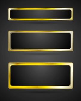 Cadre de bannière en métal doré. bordure abstraite de vecteur