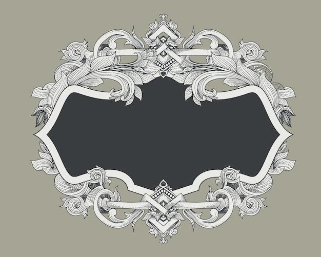 Cadre baroque vintage avec bouclier héraldique