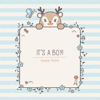 Cadre bébé petit cerf et modèle sans couture. illustration enfants avec fond mignon