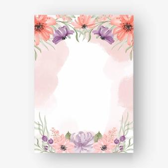 Cadre de belle fleur aquarelle