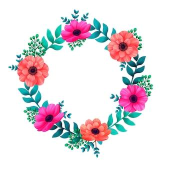 Cadre de belles fleurs et feuilles