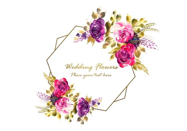 Cadre de belles fleurs avec modèle de carte de widding