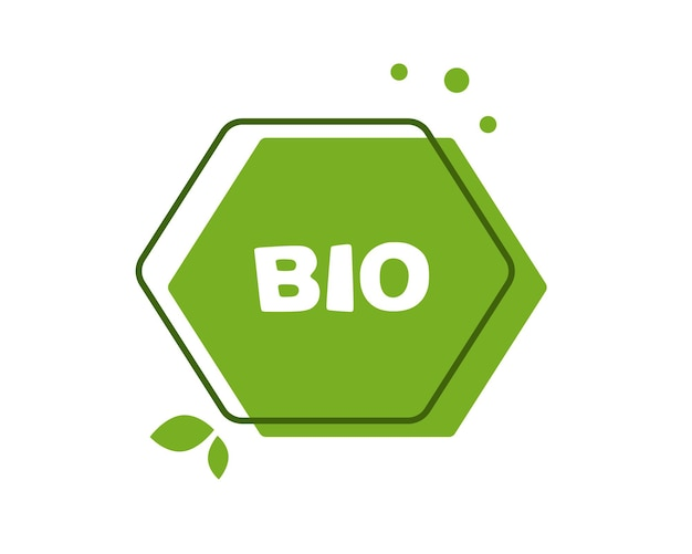 Cadre bio avec étiquette verte avec feuilles et lettrage