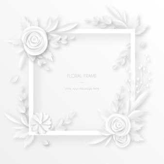 Cadre blanc avec décoration florale