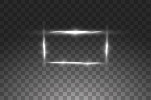 Cadre blanc avec des effets de lumières. bannière de luxe brillante. cadre blanc glow line avec des étincelles
