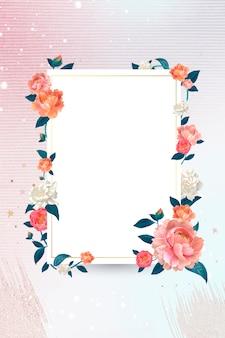 Cadre blanc floral