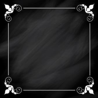 Cadre blanc sur fond ornemental tableau noir