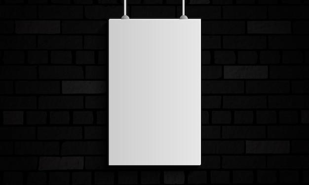 Cadre blanc sur mur de briques sombres. conception pour votre site web.