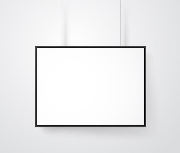 Cadre blanc vierge sur la maquette de vecteur de mur. prêt pour un contenu