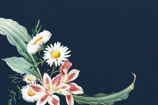 Cadre bleu floral blanc