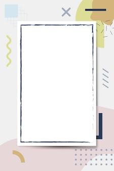 Cadre bleu sur fond de motif de conception memphis